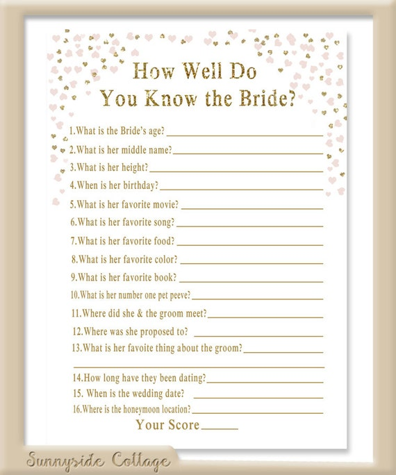How Well Do You Know The Bride Game Bridal By