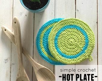Crochet Hot Plate Pattern, Crochet Hot Pad Pattern, Crochet Potholder Pattern, Hot Pad Pattern, Potholder Pattern, Hot Plate Pattern