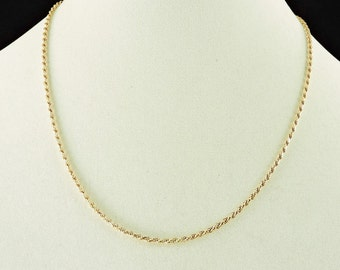 """14k Yellow Gold Rope Chain Necklace 20"""""""
