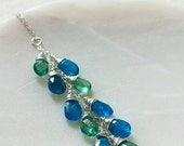 Natural Apatite Pendant, Teal Apatite Jewelry, Neon Apatite, Sterling Silver Gemstone Necklace