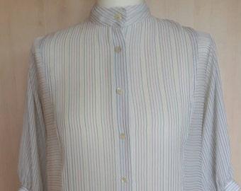 Vintage retro 1980s fine stripe batwing sleeve blouse