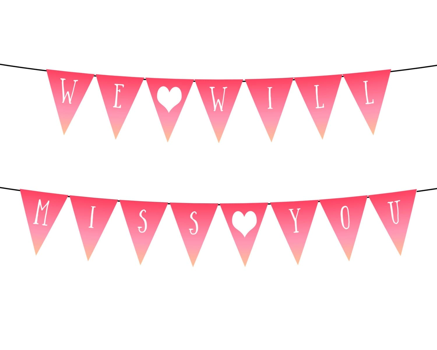 we will miss you heart pink ombre printable party banner