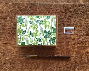 Hops and Barley Pattern, Beer Cards, Boxed Set of 8 Letterpress Notecards, Blank Inside