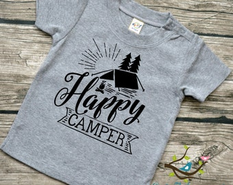 Happy Camper - Baby boys or Baby Girls  Infants Camping Vinyl Graphic Tee Shirt Multiple Colors Sizes 6-24 months