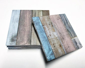 Pastel Wood Design Coasters - Rustic Wood Pattern Home Decor - Drink Coasters - Tile Coasters - Ceramic Coasters - Table Coasters
