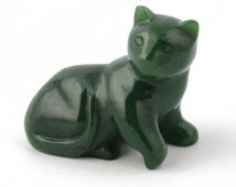Canadian Nephrite Jade Carving, Cat Laying