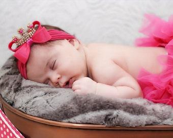 Baby Tiara, Hot Pink Bow Crown Headband, Princess Headband, Princess Tiara, Photo Prop, Pink Headband, Bow Headband, Nylon Headband, 1009