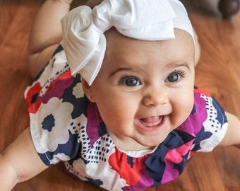 Baby Headband Headwrap, White Big Bow Headband, White Baby Headband, Newborn Headband, Baptism Headband, Toddler Bow Headband, 1105