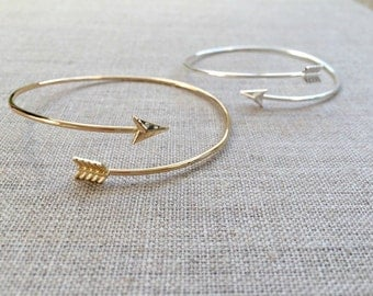 Bow and Arrow Bangle Bracelet, Adjustable Bangle Bracelet, Silver Bangle, Gold Bangle, Stacked Bangle, Simple Bracelet