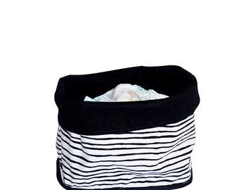 Storage bucket, Lined Fabric Bucket, Strips Pattern, 100% Cotton Black fabric lining, Room decor, Scandinavian design, Gifts, Nordic design