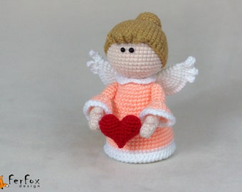 Angel with heart Valentines day gift for her Girlfriend gift Valentine heart Guardian angel Love heart gift for wife Collectible angel doll