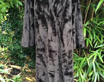 Vintage Retro 1980s Dark Brown Faux Fur Coat by Astraka UK Size 16 18