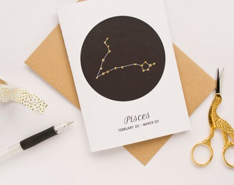 Poissons signe carte d'anniversaire de Star / Constellation carte / carte du zodiaque / carte Horoscope / Star signe Constellation / poissons Star signe / poissons