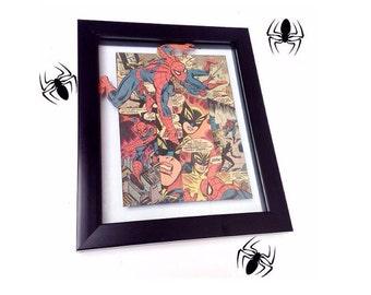 Comic Book Framed Art - Superhero Framed Customized Collage- Wall Art- Geek Art - Star Wars Art - Marvel Comics Art - Birthday Gift