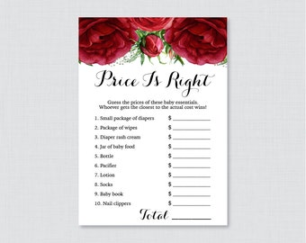 Red Baby Shower Price is Right Game - Printable Baby Shower Game Instant Download - Red RosesFlower Price is Right, Winter Christmas - 0062
