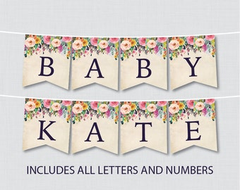 Printable Floral Baby Shower Banner - Colorful Flower Shower Decor, Customizable DIY Banner Printable with ALL Letters And Numbers - 0025-A