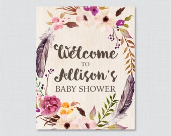 Boho Baby Shower Welcome Sign Printable Personalized Shower Welcome Sign - Flower and Feathers Bohemian Baby Shower Customized Sign - 0043