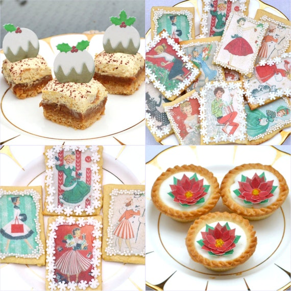 Edible Christmas Cake Decorating Recipes : Edible 1950s Christmas Holidays Wafer Rice Paper Collection