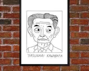Badly Drawn Yasunari Kawabata - Literary Poster - *** BUY 4, GET A 5th FREE***