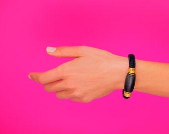 Black Bracelet, Black Bead Bracelet, Black Statement Bracelet, Boho Bracelet, Black Cord Bracelet, Rope Bracelet, Black And Gold Bracelet