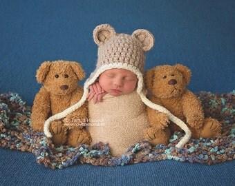 Hand Crochet Baby Hat  Ear Flap Teddy Bear Chunky Photography/Photo Prop Newborn-12 Months Baby Boy Girl UK Seller Green