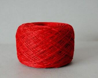 Red 3-ply 100 % Linen Yarn 100 g Ball, Linen Yarn, Red Linen Yarn, Flax Yarn, Natural Linen Yarn, Vegan yarn,  Lace Yarn, Laceweight Yarn