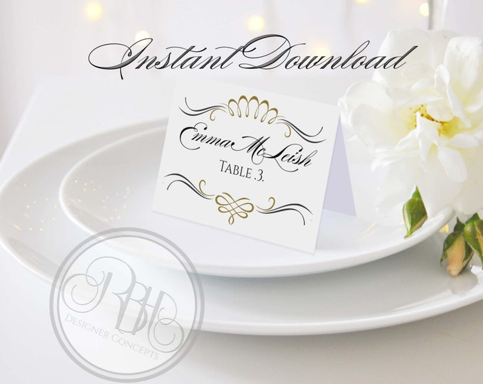 "Art Deco Place Card Template-Instant Download PDF - DIY Editable Text Only-Art Deco Gold & Black DIY Printable - ""Anneliese"""