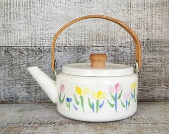Teapot Enamel Teapot Mid Century White Enamel Teapot with Wood Handle Flowers Teapot Farmhouse Kitchen Teapot White Teapot Tea Kettle