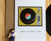 Turntable, record player Father's Day Card, retro music inspired card for dad, cool card for dad, modern father's day card