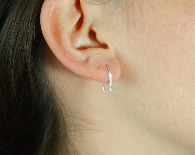 Silver Arc Earrings, Arc Earrings, Horseshoe Earrings,Silver Open Hoop Earrings, Simple Earrings, Silver, Silver Open Hoop, Minimal Earrings