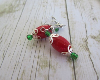 Christmas Earrings, Red Green Earrings, Holiday Earrings, Christmas Jewelry, Holiday Jewelry, Teacher Gifts, Stocking Stuffer,Earrings,Gifts