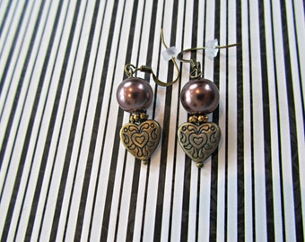 Brown Pearl Heart Earrings, Valentine Earrings, Heart Earrings, Brown Pearl Earrings, Valentine Jewelry, Pearl Jewelry, Heart Jewelry, Gifts