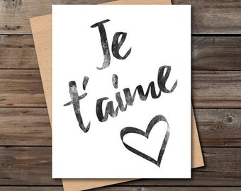 french love quote card printable download unique black and white bedroom wall art decor jpg pdf je t'aime digital print instant download
