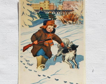 "Illustrator Bezborodov. Vintage Soviet Postcard ""On fresh tracks"" - 1956.  Izogiz Publ. Child, Boy, Dog, Winter, Gun, Woman"