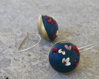 Sterling Silver earrings, Handsculpted polymer clay flower earrings, navy blue earrings, flower earrings