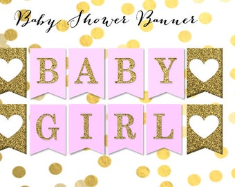 Pink and Gold Baby Shower Banner - Baby Girl Shower Decorations - It's a Girl Baby Shower Ideas