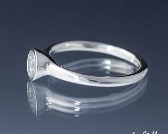 Moissanite Bezel Set Ring, Bezel Engagement Ring Anniversary Promise Ring, Forever Brilliant Moissanite - Silver, 14k, 18k Gold or Platinum