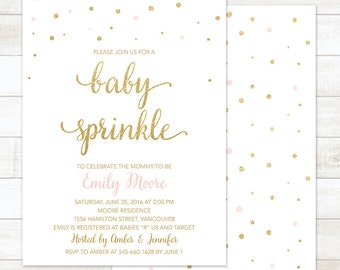 baby sprinkle invitation, pink and gold baby sprinkle invitation, gold confetti baby sprinkle invitation, baby shower invitation