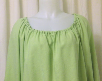 Spring Green Silk/Linen Blend, Long Sleeve, Pirate, Fairy, Peasant Blouse, Size M
