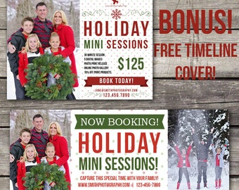 Christmas Mini Session Template - Photoshop Template for Photography - Holiday Mini Session - Facebook Cover - 107