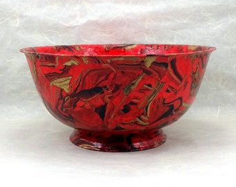 Red Marbled Decorated Bowl