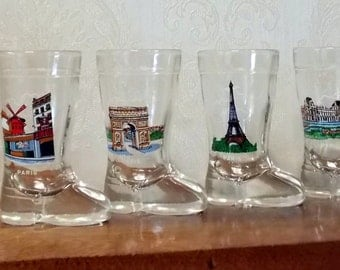 Vintage French Souvenir, Paris Landmarks, Boot Shaped Shot Glasses x 6, Home Bar