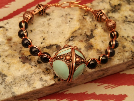 Copper wire wrapped Czech Glass Beads with Faux Bronze/ Turquoise focal bead womens