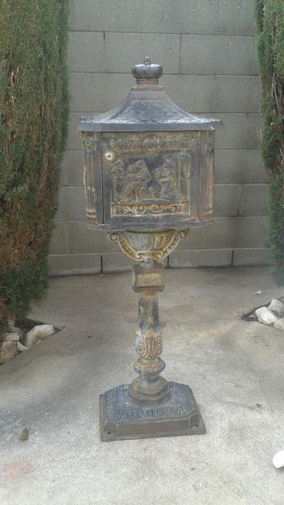Victorian Cast Iron Pedestal Mailbox