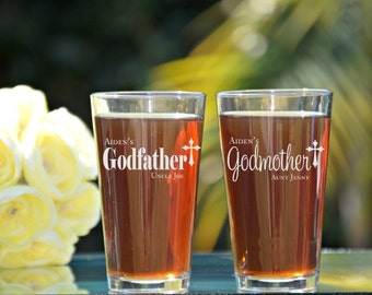 Godfather Godmother Gift, Baptism Gift for Godparents, Will You Be My Godparents, Christening Gift, Cross, Godfather Beer Glass