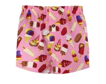 Boxer shorts for men pink ice cream print with vintage button