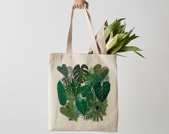 Botanical Plants Canvas Tote Bag, Plant bag, botanical print, shopper, shoulder bag, fair trade, botanical bag, gift for her, shopper bag