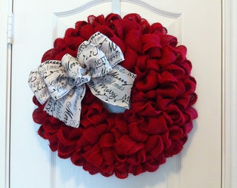 Full Red Burlap Wreath with Ivory Christmas Bow