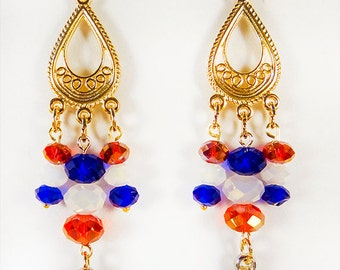 1372H - Patriotic earrings, patriotic jewelry, Americana earrings, Americana jewelry, Flag Day, Memorial Day, 4th of July, red white blue