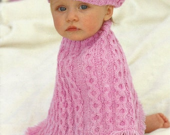 Instant Download - PDF- Lovely Cable Poncho & Beret Knitting Pattern (60)
